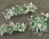 STARBUCKS Hair Clip UPCYCLED Recycled Flower Barrette Alligator Clip Choose One