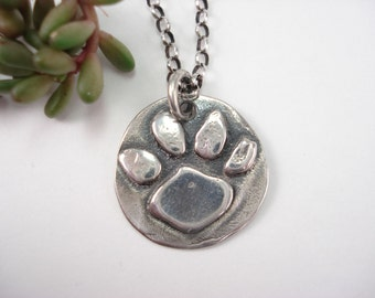 Dog Paw Necklace, Cat Paw Necklace, Paw Print Charm Necklace, Sterling Silver Necklace, Cat Paw, Tiger Paw, 16 Inch Chain, Sterling Chain