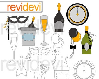 New Year's Eve clip art / new year party clipart / commercial use digital images / champagne bottles and glass clipart