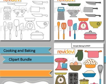 Cooking and Baking clipart bundle / kitchen utensils clipart / commercial use digital clip art