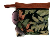 Tropical Makeup Storage Bag , Makeup Bag , Clutch Purse , Leafy Print Zip Pouch , Travel Organizer – Green Black Rust , Tropical Gift
