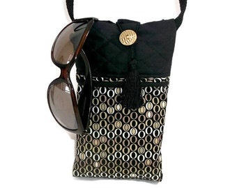 Small Cross Body Bag , Shoulder Bag , Crossbody Purse , Black Brown Geometric Ovals , Small Sling Bag , Small Travel Purse , Small Purses