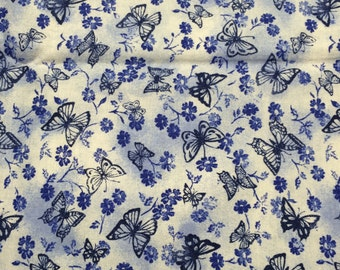 Blue butterfly fabric - 1 yard x 43 inches - totally toile by Fabric-quilt