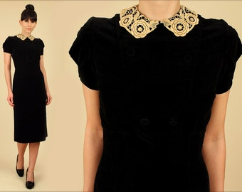 ViNtAgE Black Velvet Wiggle Dress 40s Pinup Bombshell Cocktail Hourglass Dress Antique Lace Collar Gothic Goth Puff Sleeve Small S