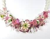 garden flowers bib necklace lamp work flowers macrame necklace lamp work necklace macrame jewelry statement necklace pink flowers statement