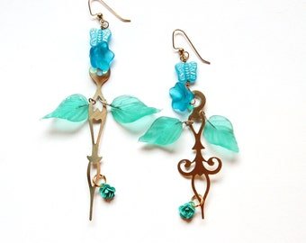 Boho Steampunk Clock Hand Earrings - Blue Roses with Czech Glass Butterflies