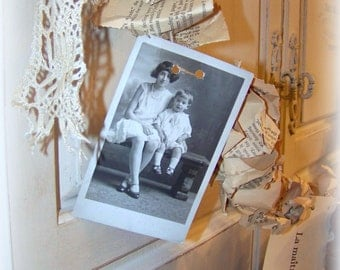 Garland Paper and Lace, old photograph, french quotes, Romantic proposal, Crumpled book pages