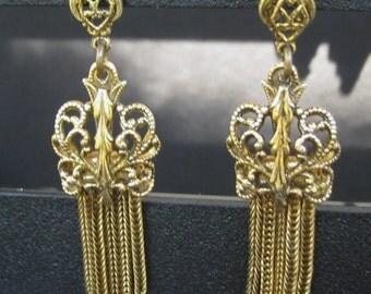 Vintage gold filigree and fringe post earrings