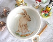 White Stoneware Clay Bowl, Painted Brown Bunny Rabbit, Blue and White Stripes and Scalloped Edge Detail, Soup or Cereal Bowl