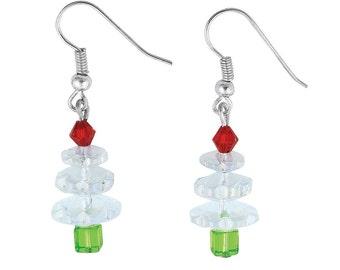 Clear Crystal Christmas Tree Earrings