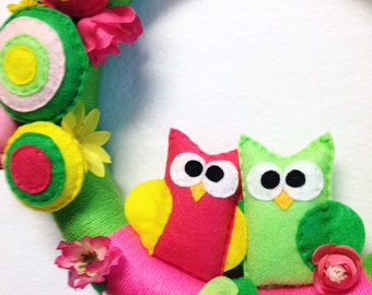 Owl Wreath, Spring Wreath, Yarn Wreath - Summer Bloom - Hot Pink and Lime Owl, Flowers