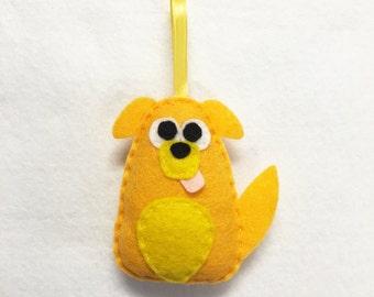Dog Ornament, Puppy Christmas Ornament, Marcel the Mutt, Felt Ornament, Felt Animal, Holiday Decoration