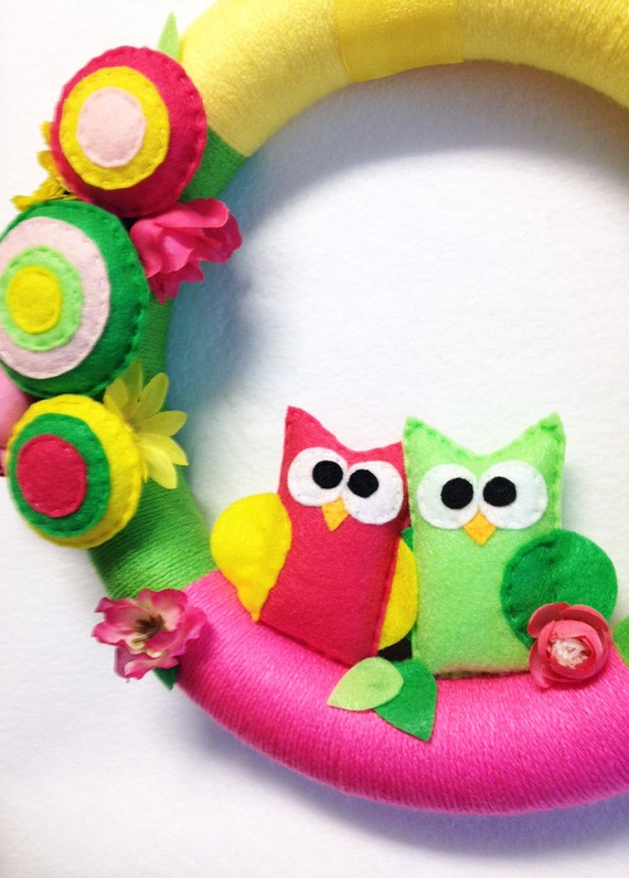 Owl Wreath, Spring Wreath, Yarn Wrapped Wreath, Summer Bloom - Hot Pink and Lime Owl, Floral Wreath