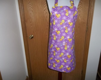 Full Apron, Adult Size, Reversible, Tweedy Bird, Lavender, Full Womens Apron, Front Pocket, Chef Apron, Cooking Apron, Handmade, Apron, Gift