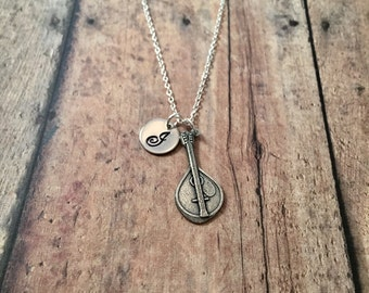 Lute initial necklace - lute jewelry, music necklace, pewter lute necklace, string instrument jewelry, gift for lute player, music jewelry