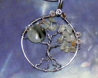 Tourmalinated Quartz and Carnelian Tree of Life Pendant Necklace