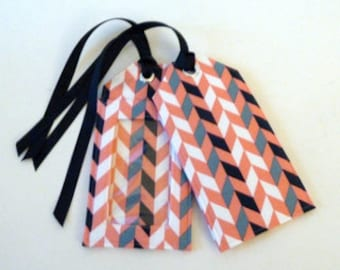 chevron - fabric luggage tag - party favors - save the date - id holder - coral and navy - travel gift - gifts for her - travel accessories