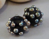 Gold Bronze Metallic Dots Black Pair of Round Lampwork Glass Beads for Jewelry by Solaris Beads 2526