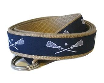 Canvas Belt Boys Lacrosse D-Ring Belt / Preppy Ribbon Belt in 7 webbing colors for Toddler and Boys - Lacrosse Sports Belt Back To School