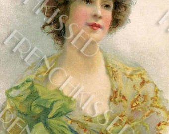 Pretty Lady in Green Antique French Postcard Vintage Digital Printable