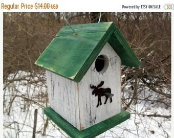 SUMMER SALE Birdhouse Moose White Green Primitive Rustic Cabin Decor