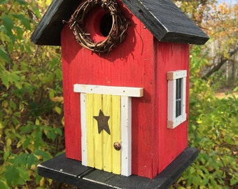 Red Birdhouse Yellow  Door Grapevine Wreath Metal Star Black Roof and Base Bottom Removes for Clean out