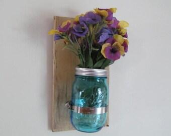 Wooden Plaque Blue Mason Jar Flower/Candle Holder