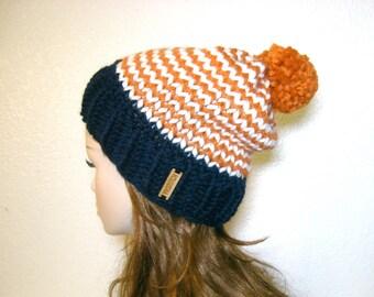 Denver Broncos Slouchy Knit Hat with Pom Pom / Striped / Orange, Blue and White