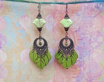 Green chandelier earrings Long boho earrings Olive green leaf earrings Bohemian jewelry