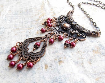 burgundy Statement necklace gift for her Maroon copper Bohemian necklace Statement jewelry
