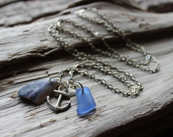 Natural Sea Glass and Shell Charm Necklace- Nadine