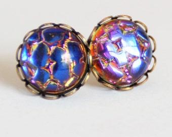 Medium Rainbow Earrings, Glass Rainbow Studs, Dragon Scales Earrings, Dragon Egg Studs, Mermaid Scale Studs, Surgical Steel Stud Earrings
