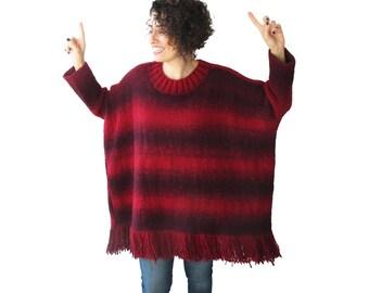 NEW! Fringed Tasseled Sweater Burgundy Red