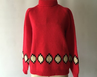 1950's Red Sweater with Cream and White Argyle Design Marshall Fields Globe Trotter Italian Made Shetland Wool Sweater