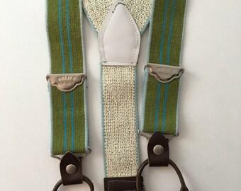 Vintage Elastic Suspenders Brace Olive Green with Teal Stripe
