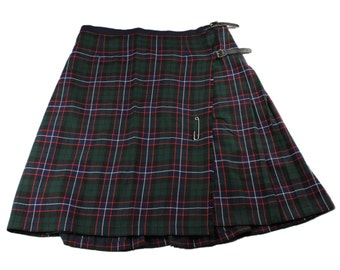 Vintage Navy Blue / Green Tartan Wool Kilt