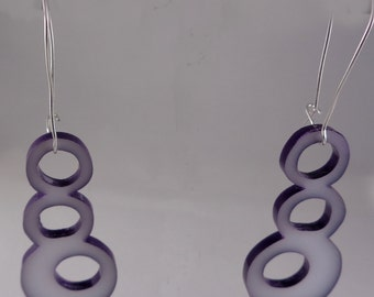 Enameled and Acrylic Bubble Earrings in Purple