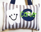 Tooth Fairy Pillow - Gray and White Stripes