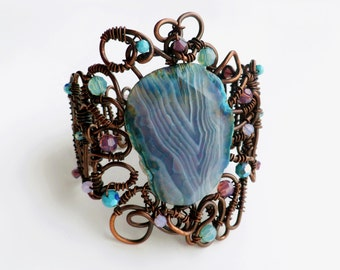 Chocolate Patina Turquoise and Cyclamen Agate and Crystal Bangle Bracelet