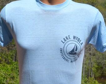 vintage 80s t-shirt LAKE WYOLA shutesbury massachursetts sail boat soft thin tee shirt Medium Small
