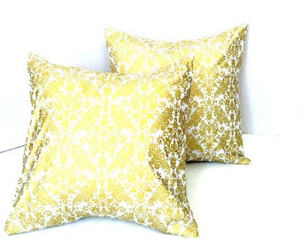 "White and Gold Damask Pillow Covers/Throw Pillow Cover/Cushion Cover Set of Two 18"" x 18"" Ready to Ship"