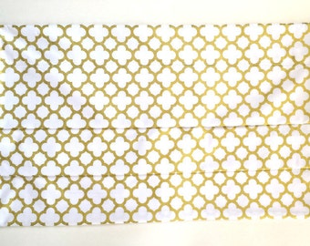 "Gold Dot Quaterfoil Faux Roman Shade/Top Treatment/Stationary Valance/Mock Roman/Nursery Shade/17"" Long/choose width/Inside or Outside Mount"