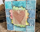 Heart  hand painted watercolor mixed media greeting card with stitchery