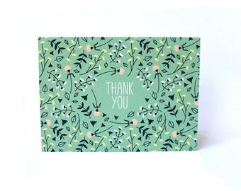 Floral Print Pattern Thank You card mint green fun feminine flowers