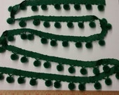 SALE - Half off - Vintage Pom Pom Trim - Green - 1 1/2 Yards CUT