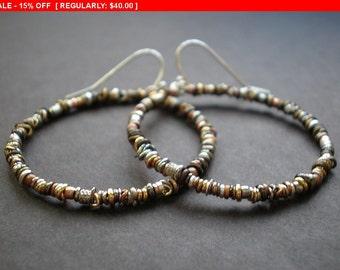 Large Hoop Earrings - Organic Textured Hoops - Rustic Earrings - Ring O' Links - Mixed Metal Beads - Boho Earrings - dorijenn Signature