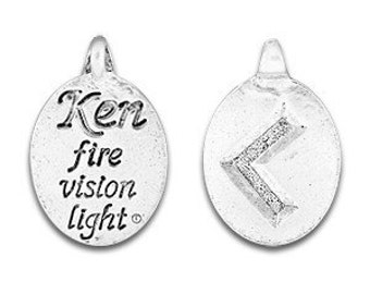 set of two Rune Pendant, Ken Rune Symbol,Norse Symbol, Celtic Symbol, Ken Rune, Kenaz Rune, Fire, Vision, Light, Pewter Charms, Made in USA