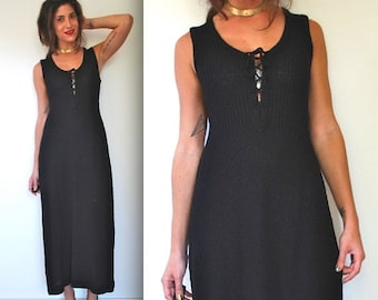 SUMMER SALE / 20% off Vintage 60s 70s Black Knit Maxi Sweater Dress (size small, medium)