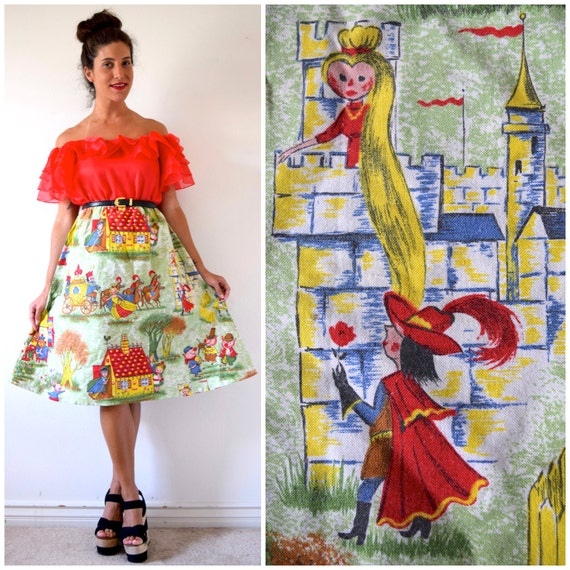 SPRING SALE/ 20% off Storybook Children High Waisted A Line Novelty Print Skirt (size xs, small)
