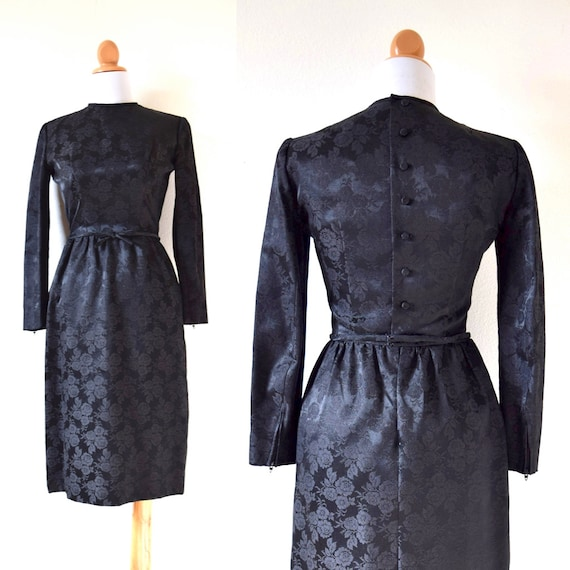 Vintage 60s Lanz Black Floral Brocade Hourglass Long Sleeved Button Back Wiggle Dress (size xs, small)